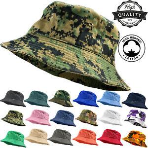 33fc93b2355d2 Unisex 100% Cotton Camo Bucket Hat Fishing Camping Safari Boonie Sun ...