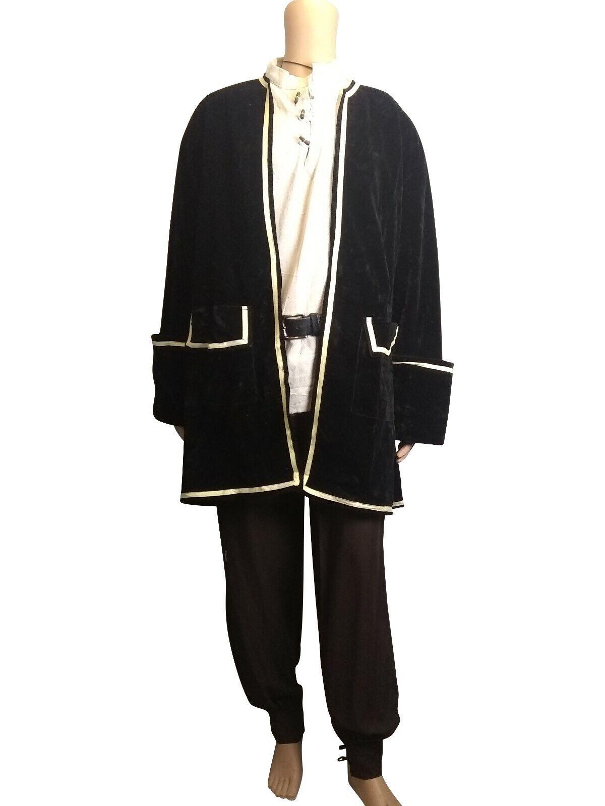 Frock Coat Jacket Velvet Pirate LARP Cosplay Fancy Dress Fits 38