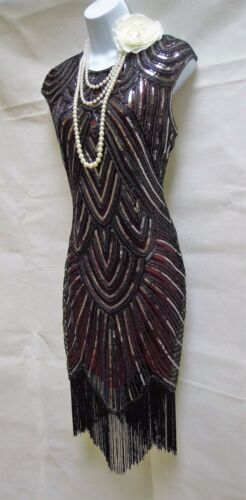 16 Sequin 14 Tassel Flapper 12 Dress 18 10 Gatsby 1920's Vintage Charleston wqS7Sv