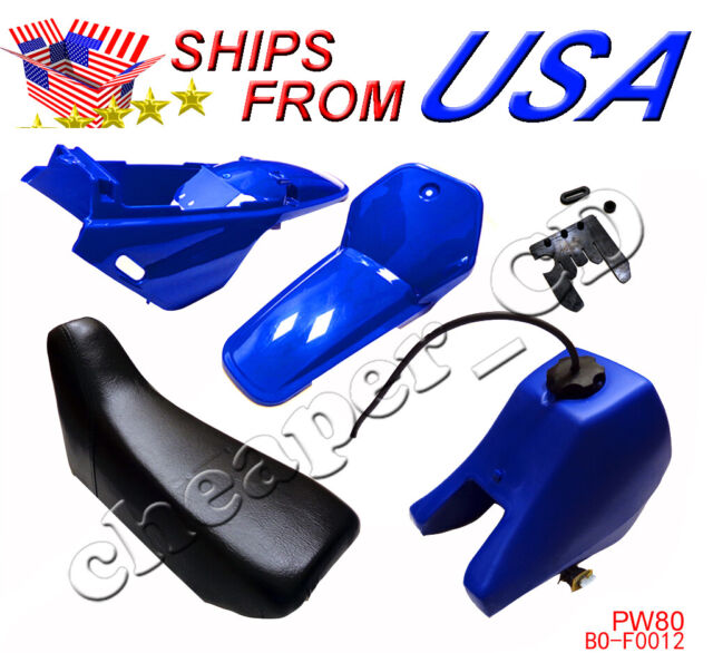 Yamaha PW80 PW 80 Tank Seat Plastic Kit Blue