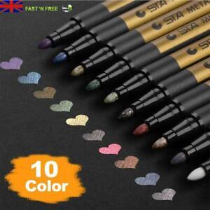 10PC-metallica-penna-ritocchi-Marker-Pittura-Vetro-Ceramica-Porcellana-Rock-Legno-Kit-UK