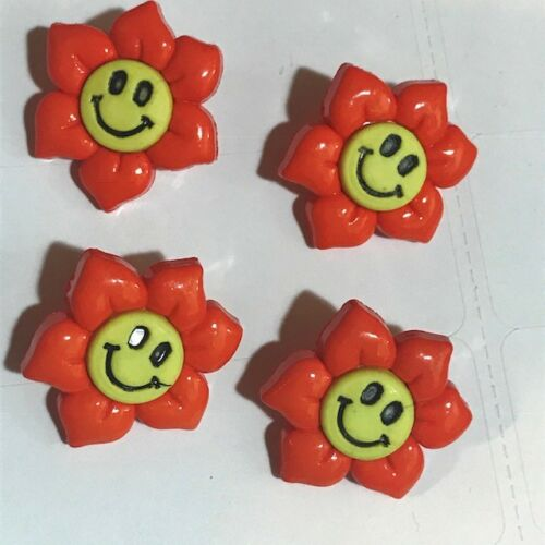 1 Inch Orange Smiley Face Flower Buttons Sewing Craft Clothing Buttons Children