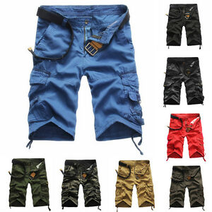 Mens-Shorts-Summer-Camo-Camouflage-Below-Knee-Pockets-Cargo-Casual-Short-Pants