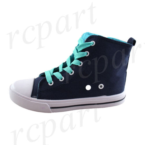 New girl boys unisex kids boots lace side zipper navy blue casual canvas summer