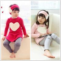 3Pcs Newborn Girls Baby Princess Heart Dress+Pants+Headband Kids Clothes Set