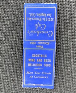 Vintage Crenshaw's Cafe LA Los Angeles CA Matchbook, 5701 1/2 S. Western Avenue