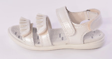 Ecco Tilda Girls White Pearlised Leather Sandals UK 1 EU 33 US 2-2.5