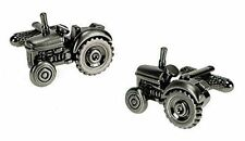 Traditional Tractor Burnished Silver Design Cufflinks - Onyx-Art London CK266