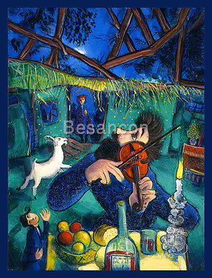 """The Fiddler 20x24/"""" Hand Painted Cubist Oil Painting On Canvas Violin Art"""