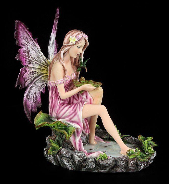 Figura Elfos Sentado An Estanque con Colibrí - Fantasía Agradable Hadas Ángel