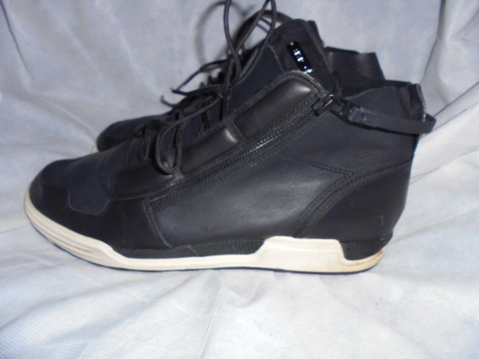 ADIDAS Para Hombre Negro Cuero Con Cordones Tobillo Zapatillas Talla nos 11.5 en muy buena condición