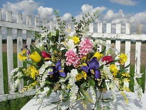 High End Memorial Flowers Wisteria Iris Hyacinth Cemetery Silk Spray Sympathy