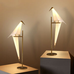 Nordic LED Paper Crane Bird PVC Loft Bedroom Table Desk Floor Lamp ...