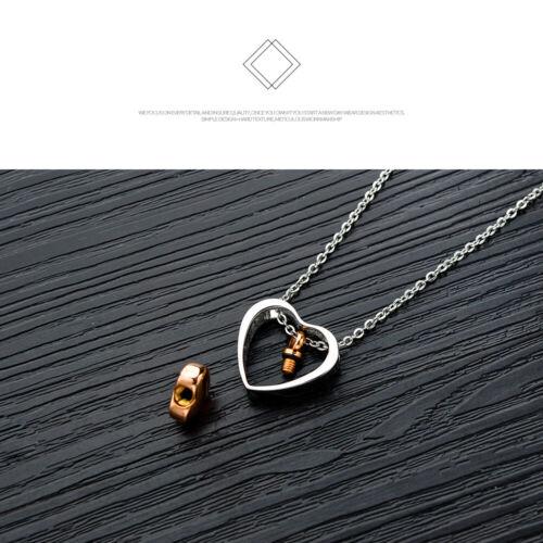 Edelstahl Halskette Silber Rosegold Herz Anhänger mit 50cm Kette Asche Urne Memo