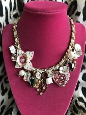 Betsey Johnson Flat Out Floral Pink Lucite Heart Leather Charm Flower Necklace