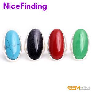 Fashion Energy Healing Stone Rings For Man Women Tibetan Silver Jewelry Gifts