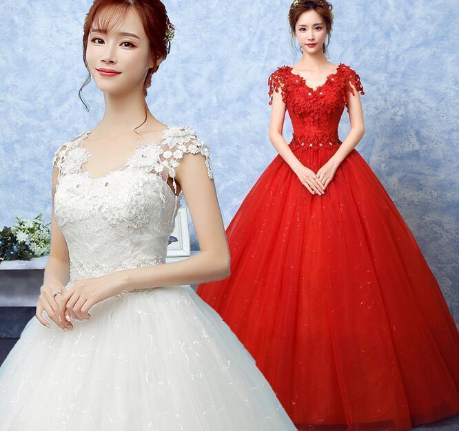 Womens Rhinestones Floral Lace Wedding Long Dress Slim Fit Tutu Bridal Ball Gown