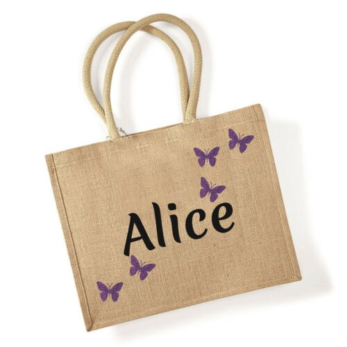 Personalised Jute Shopping Bag Gift Name and BUTERFLY Design Grocery Carrier NEW