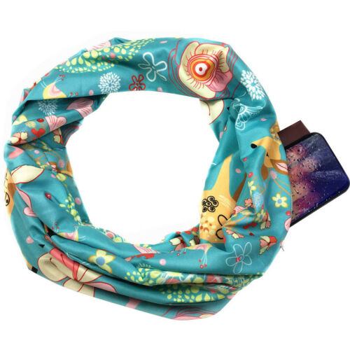 Winter Women Multiple Styles Infinity Scarf Pocket Loop Zipper Pocket Scarves US