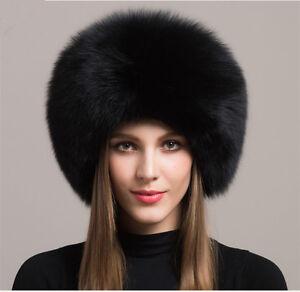 e20b400fc9a Women Real Black Fox Fur Hat Russian Winter Warmer Ear Cap Ushanka ...