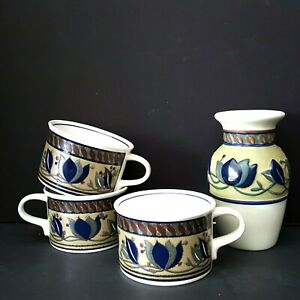 Mikasa-Arabella-4-piece-lot-3-Coffee-Cups-1-Vase-5-25-inch-Very-Good-Condition