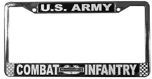 Army Combat Infantry Chrome License Plate Frame U.S