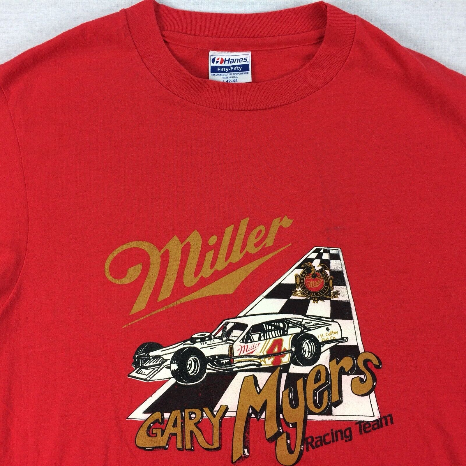 Vintage 80s USA Made Miller Racing T-Shirt Large Red Gary Myers Broken-In Thin