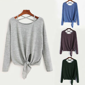 Women-039-s-Tie-Up-Long-Sleeve-T-Shirt-Ladies-Loose-Tops-Blouse-Pullover-Sweatshirts