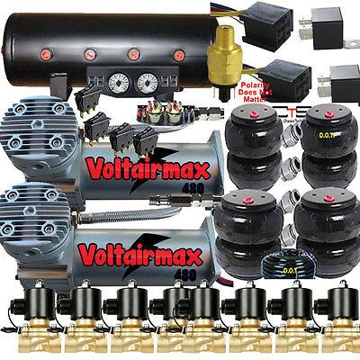 """AirMaximum 480C Compressors 3/8"""" Valves AirRide 2500/2600 Bags Gauges Electrical"""