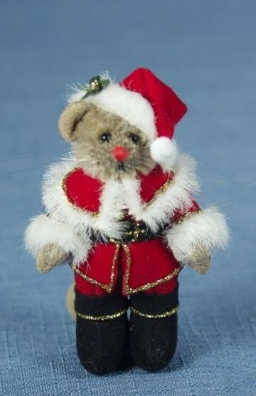 DEB CANHAM  SANTA MOUSE  MINIATURE MOHAIR MOUSE IN SANTA OUTFIT