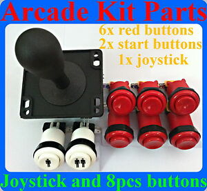 red Sweet-Tempered Arcade Joystick And 8 Pcs Arcade Buttons Kit Multicade Mame Jamma Game A Plastic Case Is Compartmentalized For Safe Storage