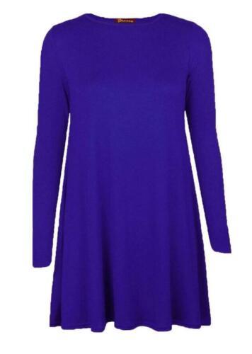 Discount Womens Plain Jersey Long Sleeve Ladies Party Swing Skater Dress UK 8-14