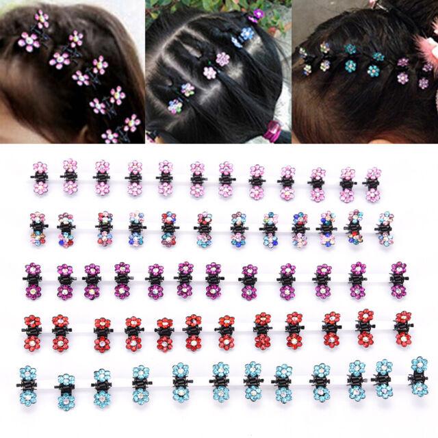 12PCS Baby Girl lady Crystal Flower Mini Hair Claw Clamp Hair Clip Hair Pin BDAU