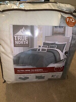 TRUE NORTH Ultra Mink to Sherpa 5 PC Full/Queen Comforter Set GREY
