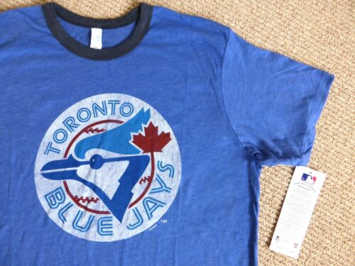 S M L Retro MLB Toronto BLUE JAYS OFFICIAL Denim Blue Grey Baseball T Shirt Tag