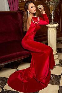 Abito-lungo-aperto-Velluto-Coda-aderente-Ricamo-Cerimonia-Maxi-Evening-Dress-L