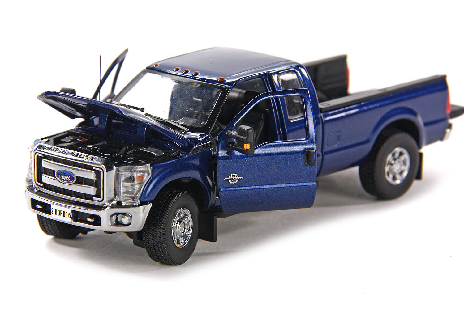 Ford F250 Super Cab 8 Ft Bed -  Blau  - Chrome Wheels - 1 50 - Sword  SW1100B