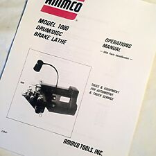 Ammco Operating Service And Parts Manual 1000 Drum Disc Brake Lathes