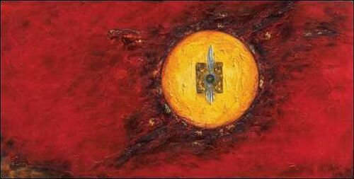 show original title red solar stretcher-image screen abstract red modern circle Details about  /Remy