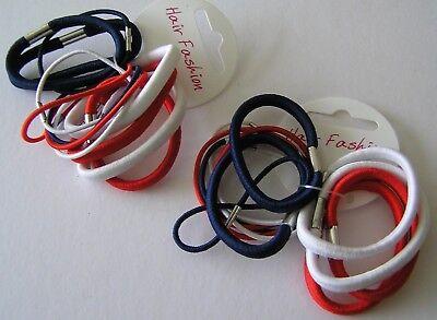 Accurato Lotto Schede 2 Elastici Capelli Nuove Bande Cravatte Scuola Navy Blu Nero Bianco Rosso Ragazze M-