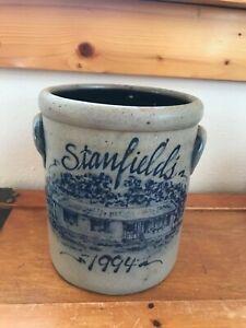 Rowe Pottery Works 1994 Signed Salt-Glazed Double-Handled Crock w Blue Stanfield