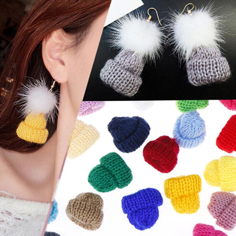 30Pcs Color Cute Knitting Mini Hats DIY Craft Supplie Headwear Toy Doll De Didb