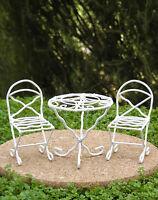 Miniature Dollhouse Fairy Garden White Metal Bistro Table & Chairs