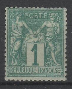 FRANCE-STAMP-TIMBRE-N-61-034-TYPE-SAGE-1-c-VERT-1876-034-NEUF-x-TB-N758