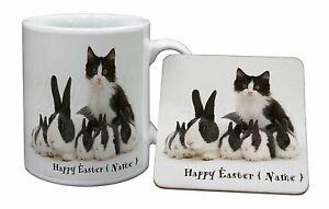 Personalised-Easter-Rabbits-Cat-Mug-Coaster-Christmas-Birthday-Gift-I-AR-6PEAMC