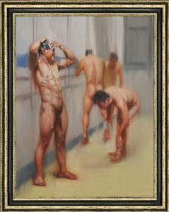 Hand-painted-original-Oil-painting-art-male-nude-Bathroom-on-canvas-24-034-x36-034