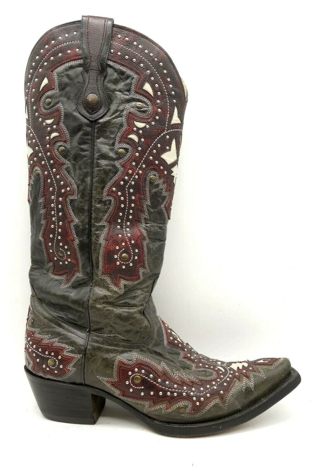 Corral Charcoal Red Leather Studded Cowboy Western Boots Women's 10 M
