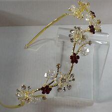 Aleación de oro Plateado Rojo Y Claro Cristal con Flores en una tiara Ondulado Head Band