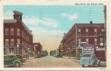 View on Main Street in Big Rapids MI Postcard 1945