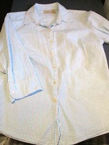 EUC-LL-BEAN-WOMENS-3-4-SLEEVE-BLUE-WHITE-STRIPE-SEERSUCKER-BLOUSE-SHIRT-SMALL